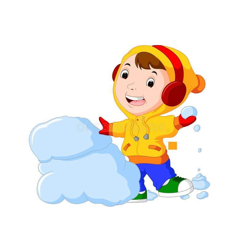 Kreskówka dzieciaki bawić się z śniegiem ilustracji