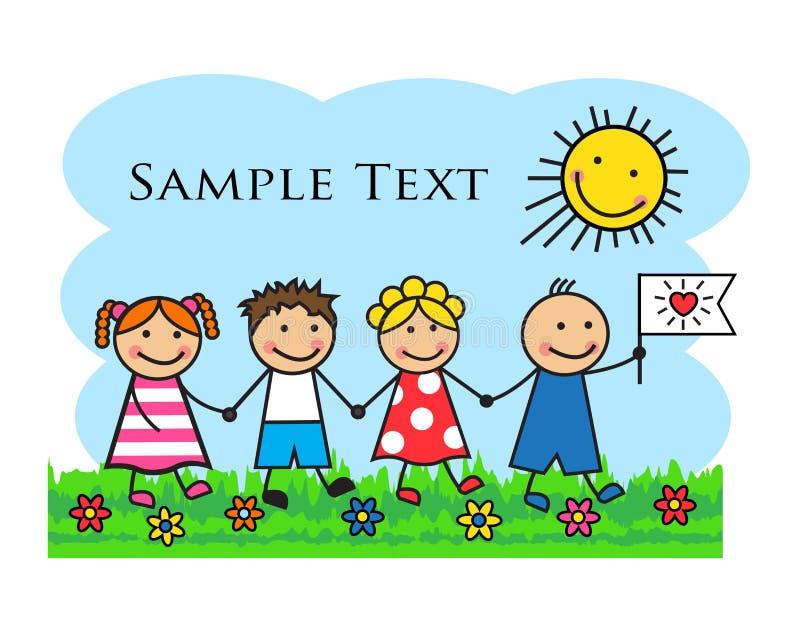 Kreskówka dzieciaki iść przez trawy i mienia ręk ilustracji