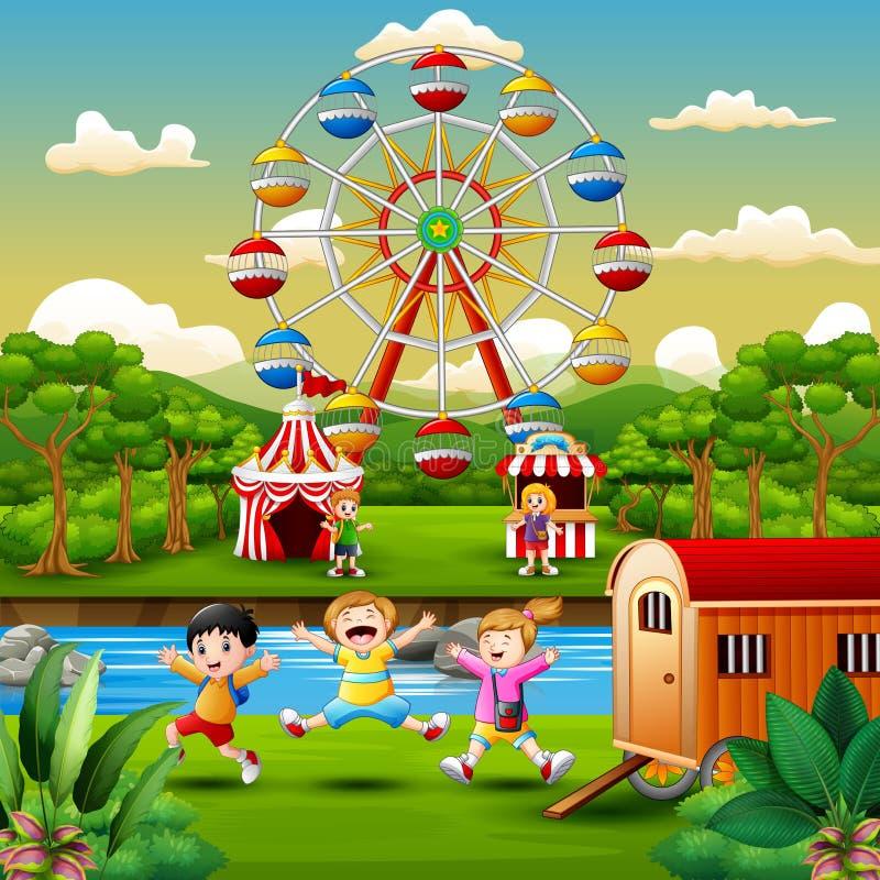 Kreskówka dzieciaki ma zabawę przy parkiem rozrywkim ilustracja wektor