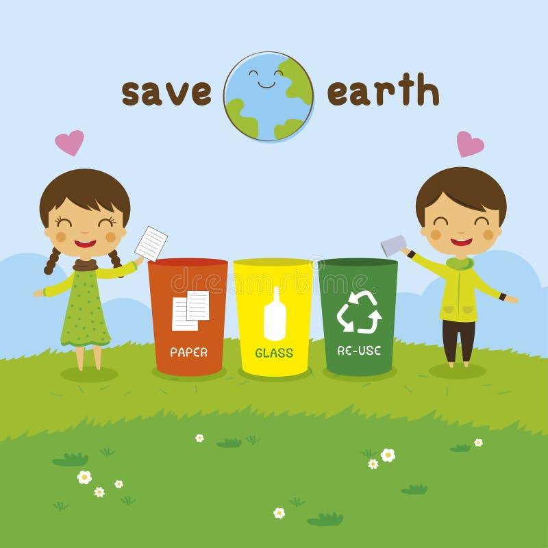 Kreskówka dzieciaki Save ziemię ilustracja wektor