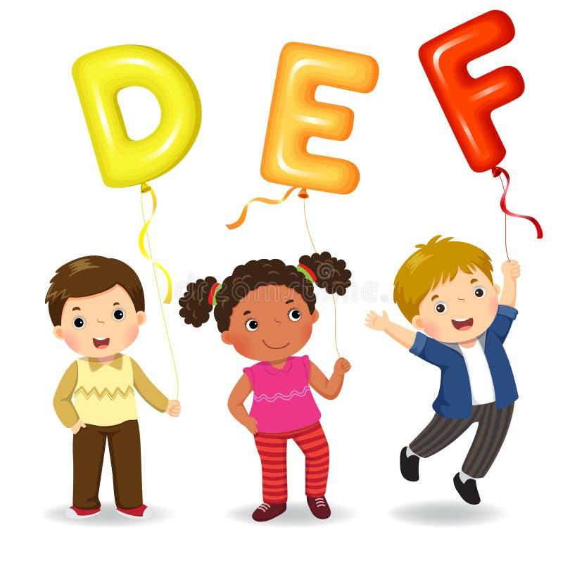 Kreskówka dzieciaki trzyma listów DEFA kształtujących balony ilustracja wektor