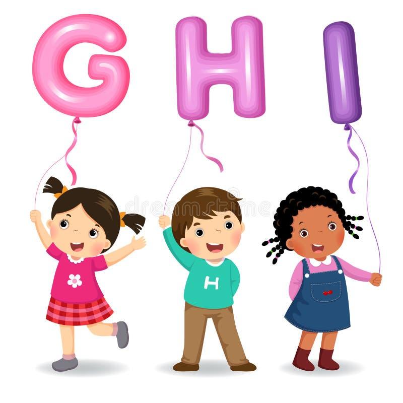 Kreskówka dzieciaki trzyma listowych GHI kształtujących balony royalty ilustracja