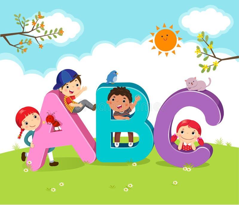 Kreskówka dzieciaki z ABC listami ilustracja wektor