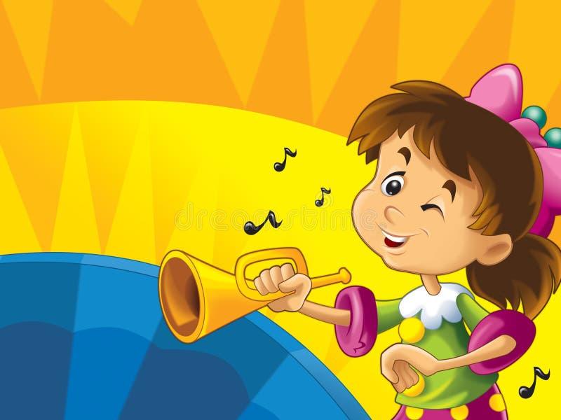 Download Kreskówka Dzieciaki Z Instrumentami - Musicalu Szczęście Na Barwionym Dynamicznym Tle I Znaki Ilustracji - Ilustracja złożonej z wyznaczający, ilustracje: 28974639