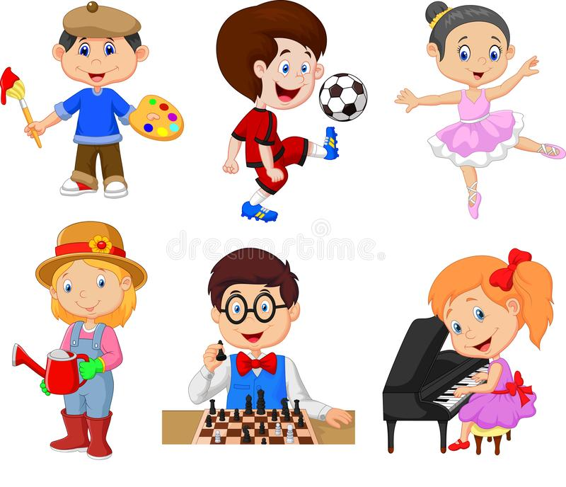 Kreskówka dzieciaki z różnymi hobby na białym tle ilustracja wektor