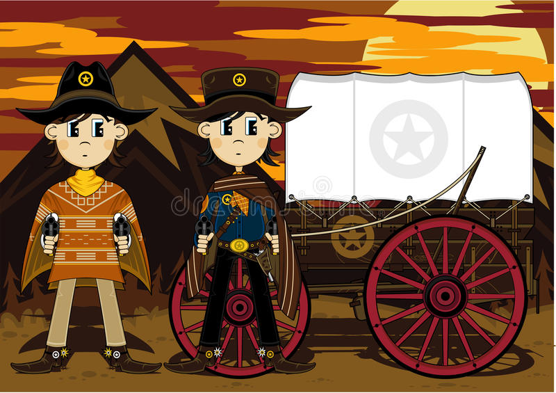 kreskówka dziki zachodni kowboj ilustracji