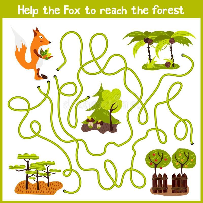 Kreskówka edukacja kontynuuje logicznego sposobu dom colourful zwierzęta Pomaga ja dostawać podstępnemu czerwonemu Fox dzikiego d royalty ilustracja
