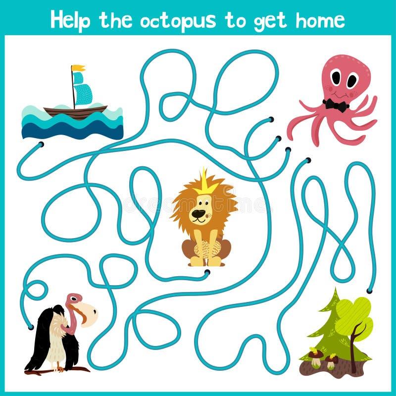 Kreskówka edukacja kontynuuje logicznego sposobu dom colourful zwierzęta Pomaga ośmiornicy dosięgać do domu przy dnem o ilustracji