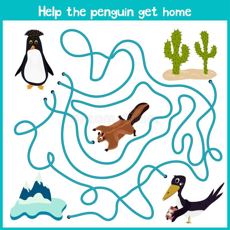 Kreskówka edukacja kontynuuje logicznego sposobu dom colourful zwierzęta Pomaga ten ślicznego pingwinu dostawać dom w zimnym Arct ilustracja wektor