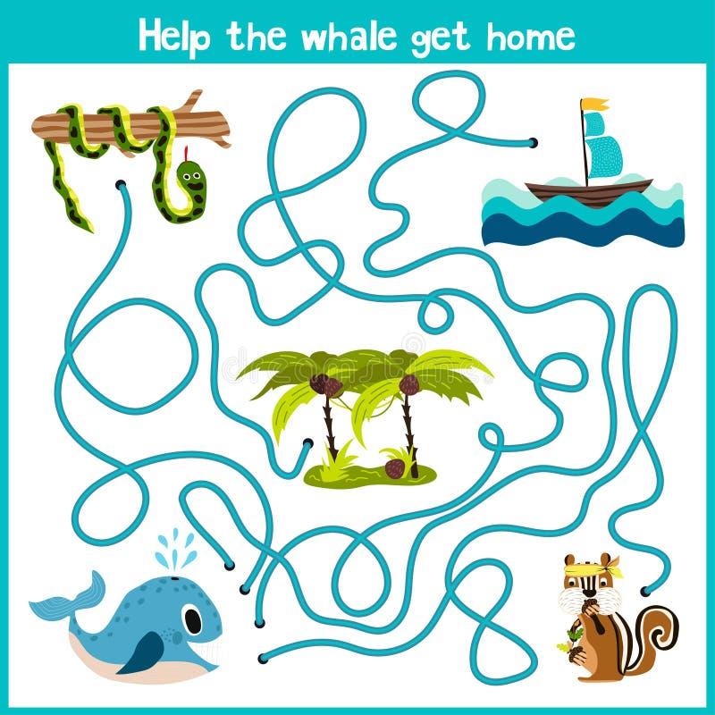 Kreskówka edukacja kontynuuje logicznego sposobu dom colourful zwierzęta Pomaga wieloryba pływać w wodnego domu dobro na t ilustracji