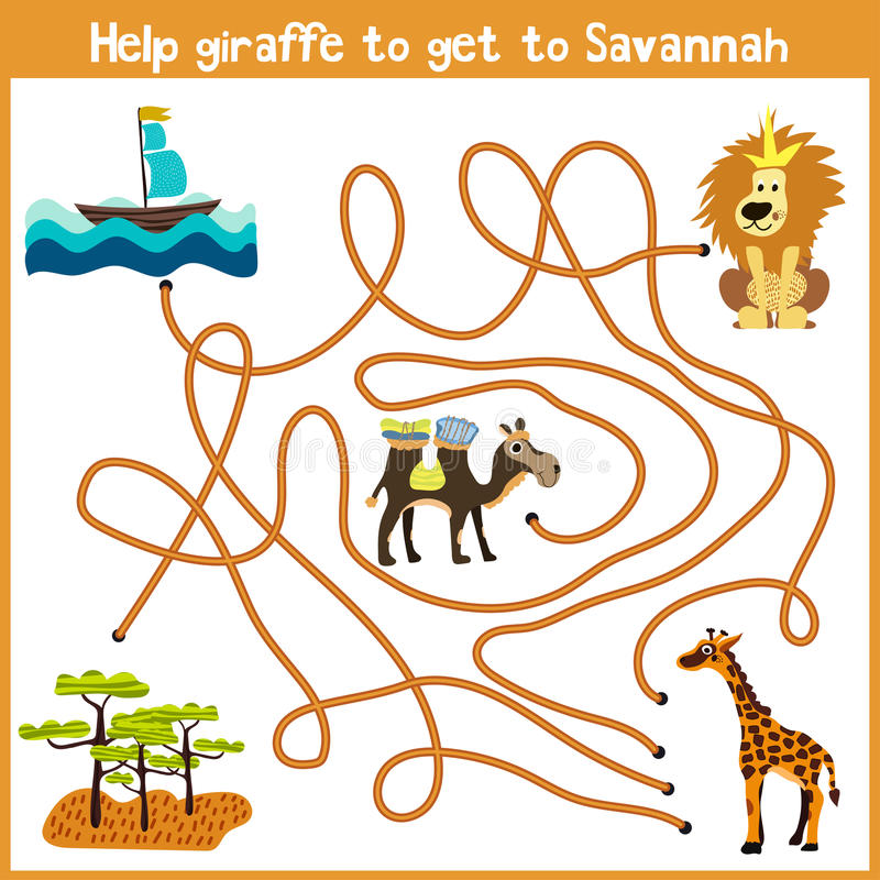 Kreskówka edukacja kontynuuje logicznego sposobu dom colourful zwierzęta Pomocy żyrafa dostawać dom terytorium Sava ilustracji