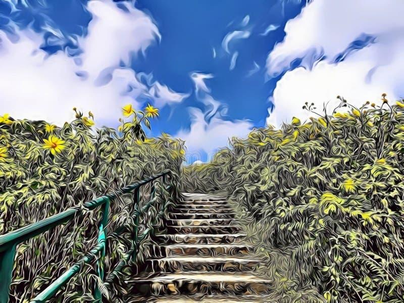 Kreskówka ekspresjonisty ilustracja piękny schodek po środku natury z kwitnąć dzicy słoneczniki zdjęcie stock