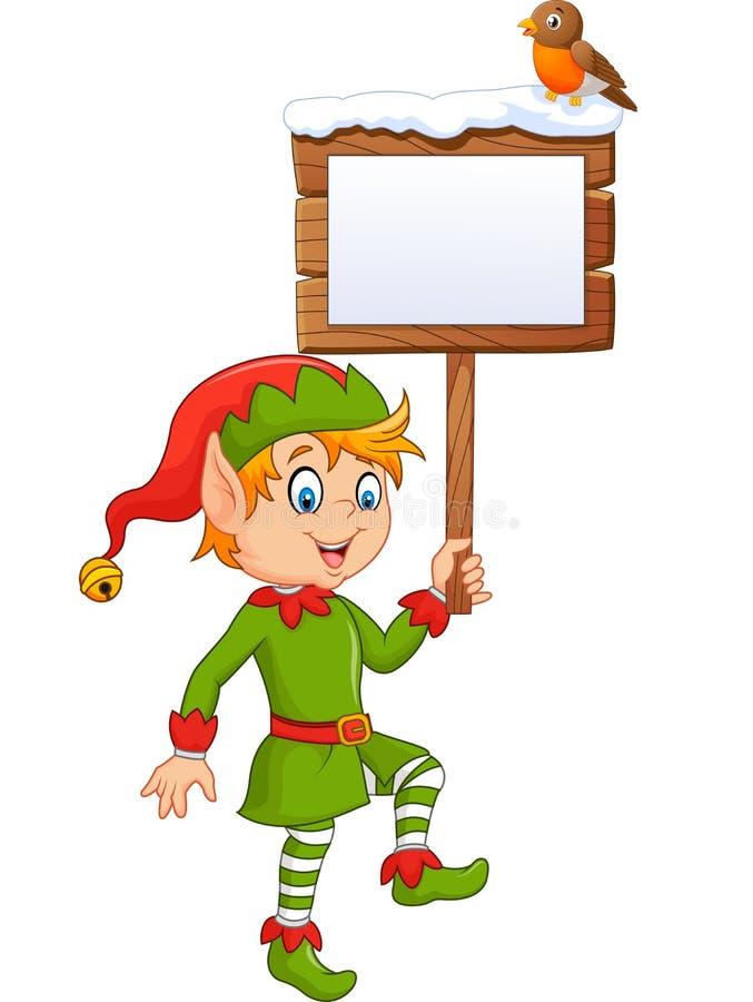 Kreskówka elfa chłopiec mienia pustego miejsca śmieszny znak z rudzika ptakiem ilustracji