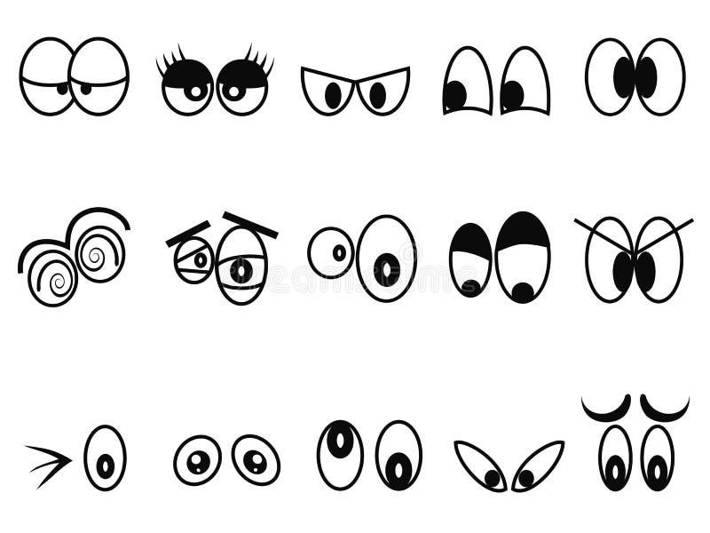 Kreskówka Expressional przygląda się ikona set royalty ilustracja