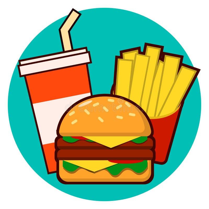 Kreskówka fast food combo - hamburger, francuscy dłoniaki, sodowana wektorowa ilustracja odizolowywająca na tle ilustracja wektor