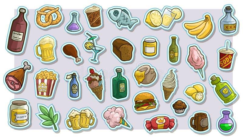 Kreskówka fast food i napój ikony wektorowi majchery royalty ilustracja