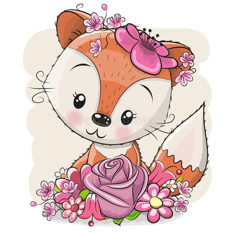 Kreskówka Fox z flowerson biały tło ilustracji