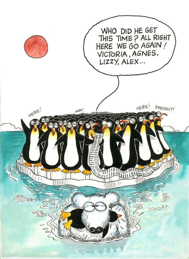 Kreskówka gag niedźwiedź polarny i pingwiny ilustracji