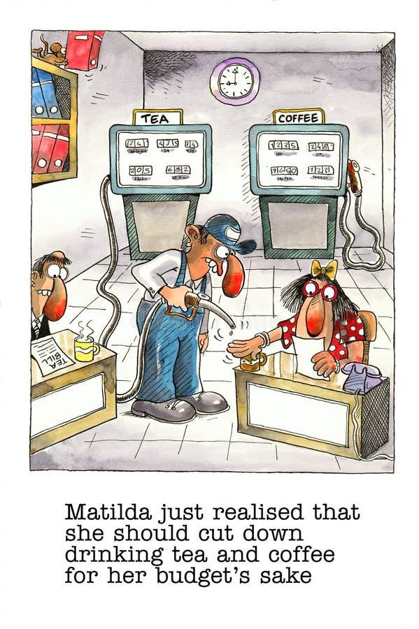 Kreskówka gag o biurowym życiu ilustracji