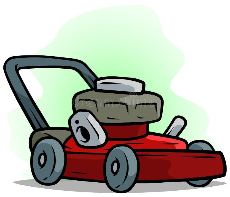 Kreskówka gazonu czerwony kosiarz na zielonym tle ilustracji