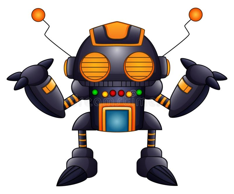 Kreskówka gniewny robot z antenami i pomarańcze ono przygląda się ilustracji
