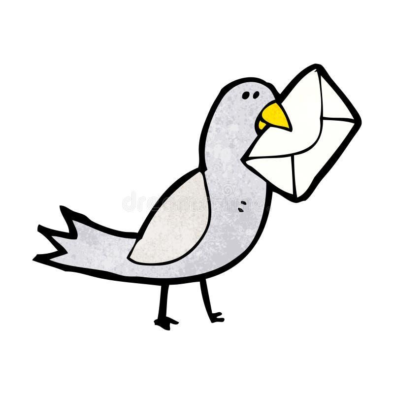 kreskówka gołąb z kopertą ilustracja wektor