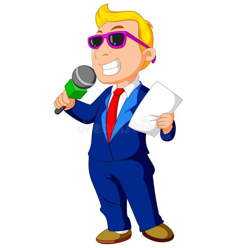 Kreskówka gospodarz trzyma mikrofon ilustracji