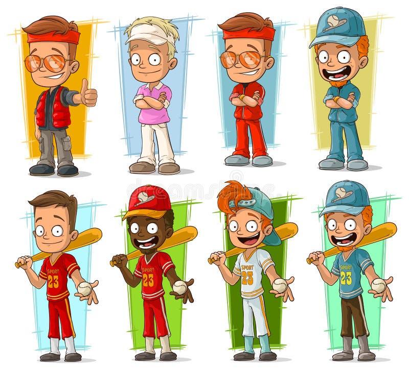 Kreskówka graczów baseballa i sportowów charakterów wektoru set ilustracji