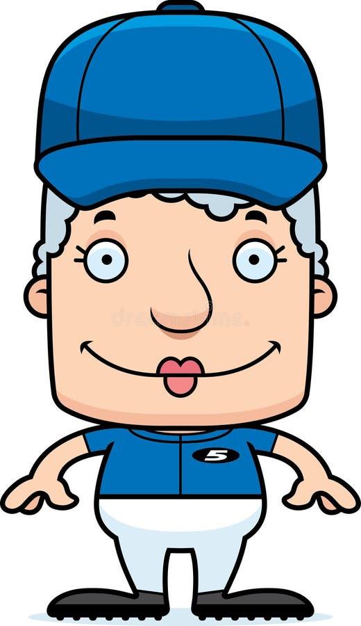 Kreskówka gracza baseballa Uśmiechnięta kobieta ilustracja wektor