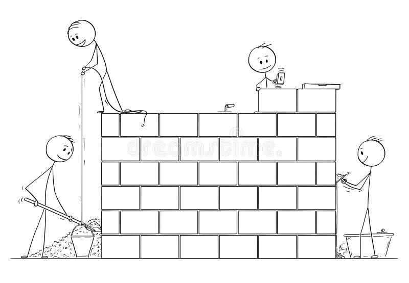 Kreskówka grupa kamieniarzi lub murarzi Buduje dom od cegieł lub ścianę royalty ilustracja