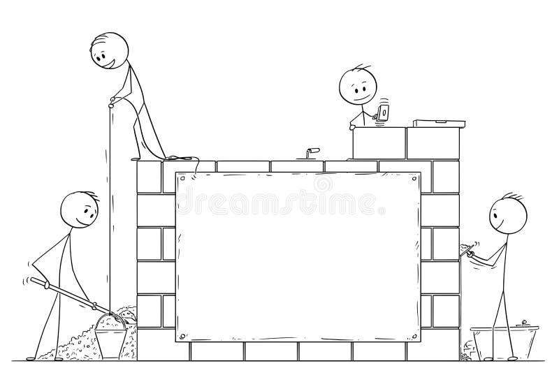 Kreskówka grupa kamieniarzi lub murarzi Buduje dom od cegieł lub ścianę Tam jest Pusty znak ilustracja wektor