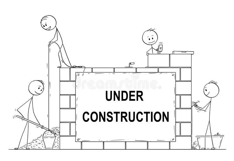 Kreskówka grupa kamieniarzi lub murarzi Buduje dom od cegieł lub ścianę Tam jest W Budowie znak ilustracji
