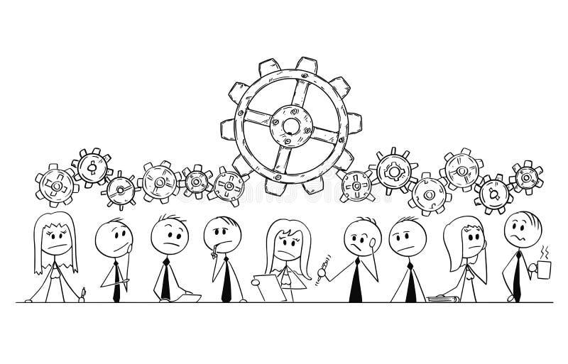 Kreskówka grupa ludzie biznesu, biznesmeni lub bizneswomany Myśleć Podczas Brainstorming, royalty ilustracja