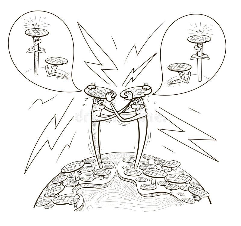 Kreskówka gwoździe rywalizują z each inny royalty ilustracja