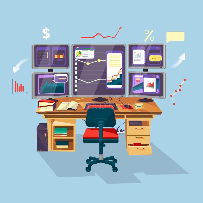 kreskówka handlowiec, analityka finansowego miejsce pracy ilustracja wektor