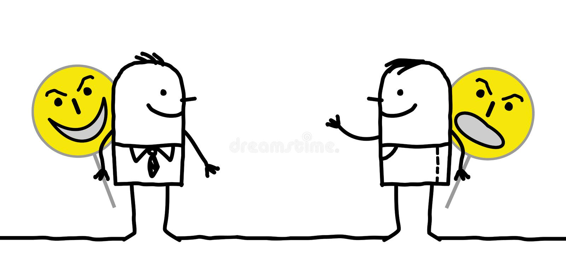 Kreskówka hipokryta charaktery Trzyma Emoticon znaki ilustracji