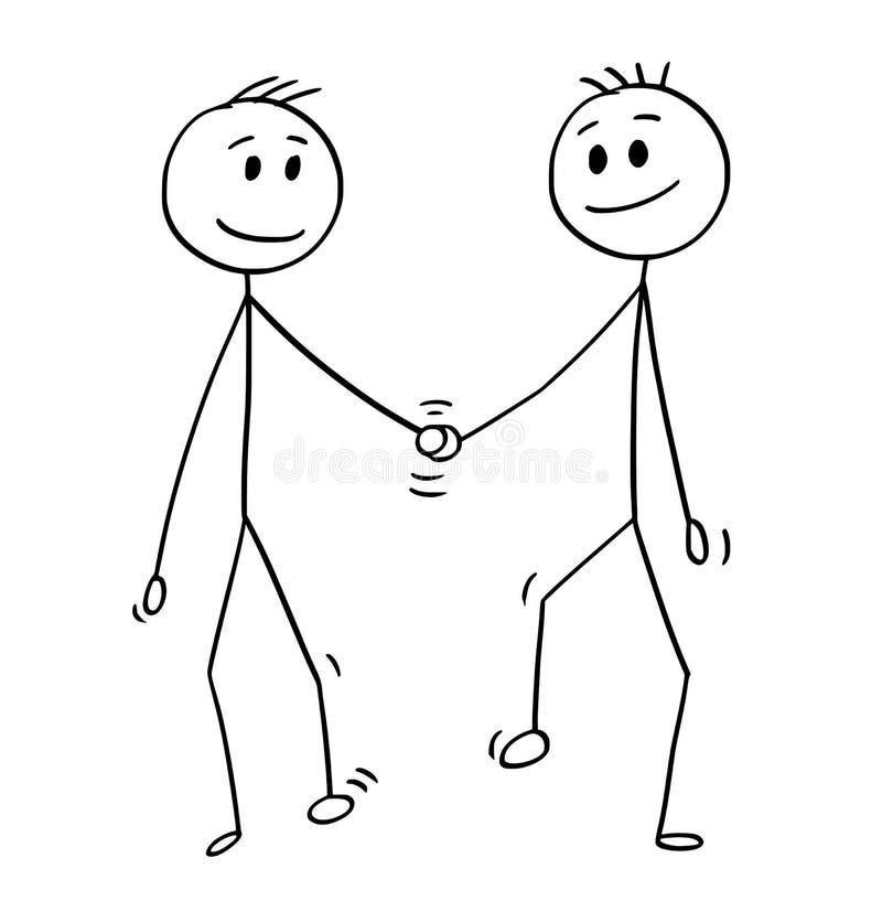 Kreskówka Homoseksualna para Dwa homoseksualisty Chodzi ręki i Trzyma ilustracja wektor