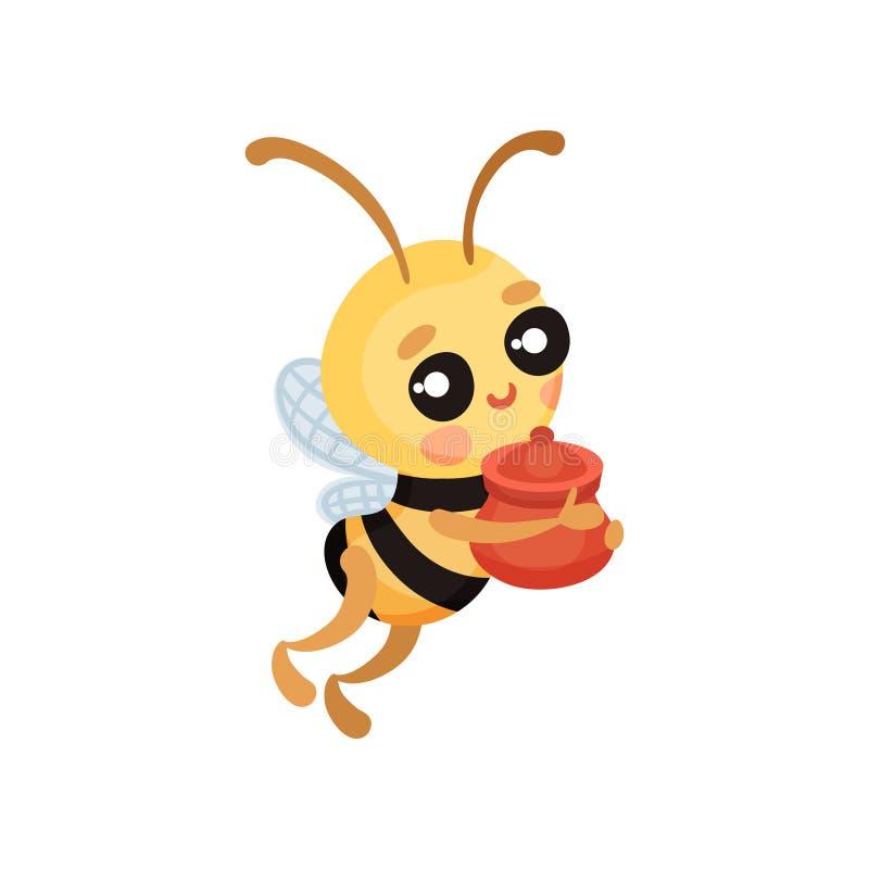 Kreskówka humanizująca pszczoła znosi garnek miód r?wnie? zwr?ci? corel ilustracji wektora royalty ilustracja