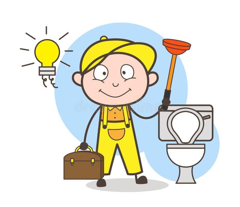 Kreskówka hydraulik z Nurnikową Cleaning łazienki wektoru ilustracją ilustracji