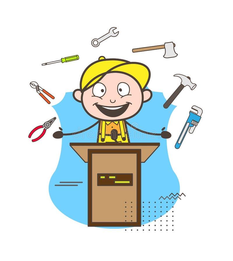 Kreskówka hydraulika chłopiec Przedstawia narzędzie wektoru ilustrację ilustracji