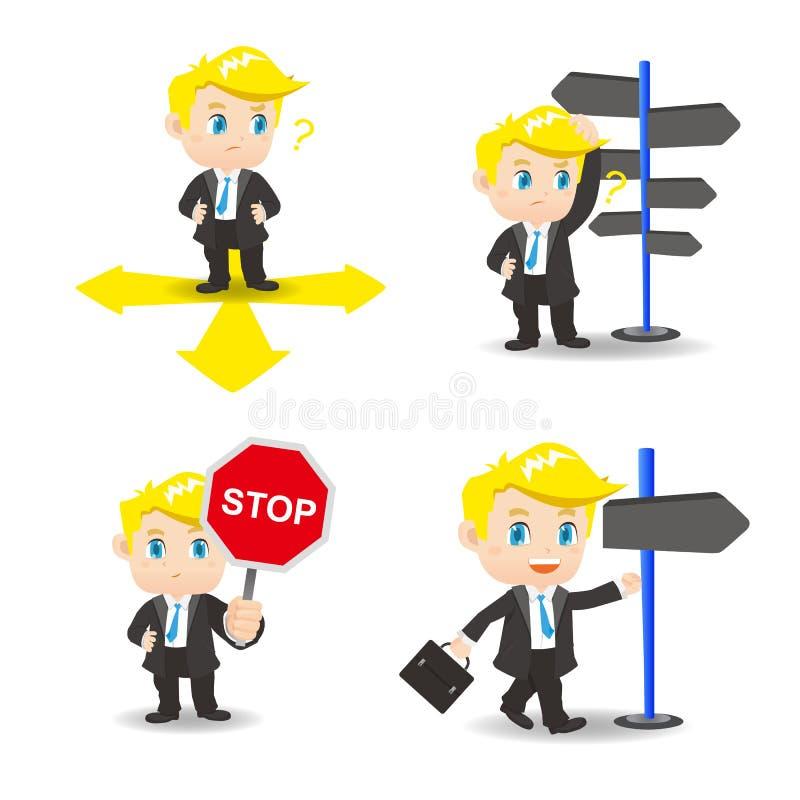 Kreskówka ilustracyjny biznesmen wybiera kierunki ilustracji