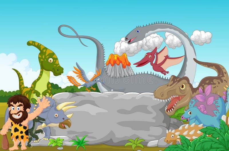 Kreskówka Inkasowy dinosaur z caveman falowaniem ilustracja wektor