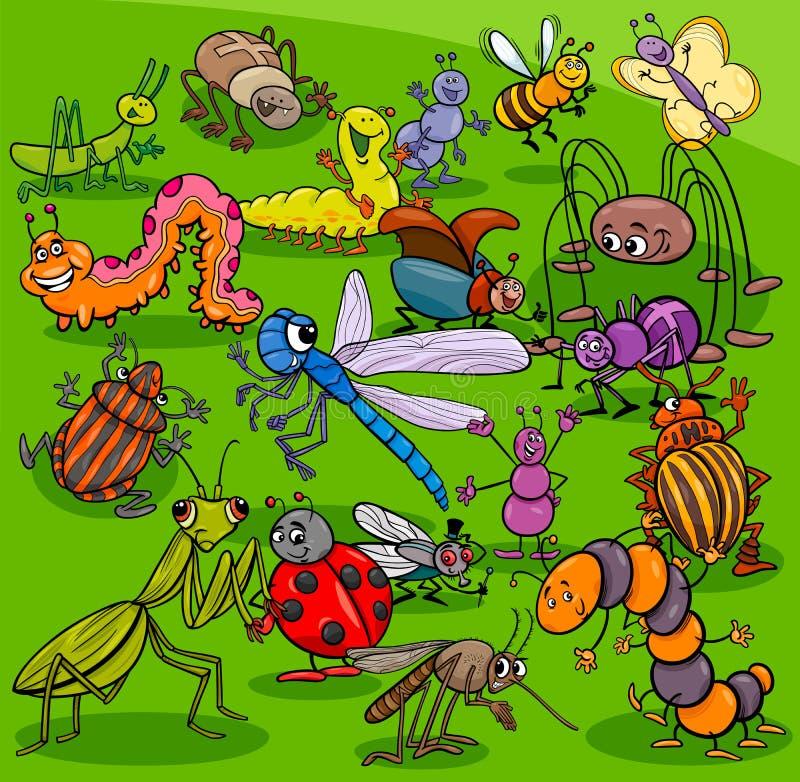 Kreskówka insektów charakterów zwierzęca grupa royalty ilustracja