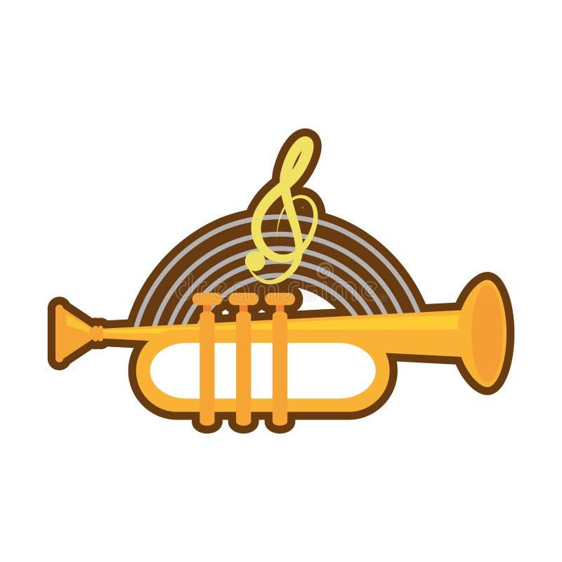 kreskówka instrumentu muzyki tubowy wiatr ilustracja wektor