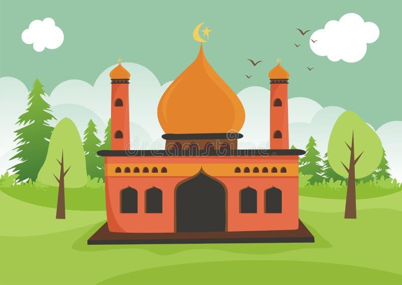 Kreskówka islamski meczet z krajobrazem royalty ilustracja