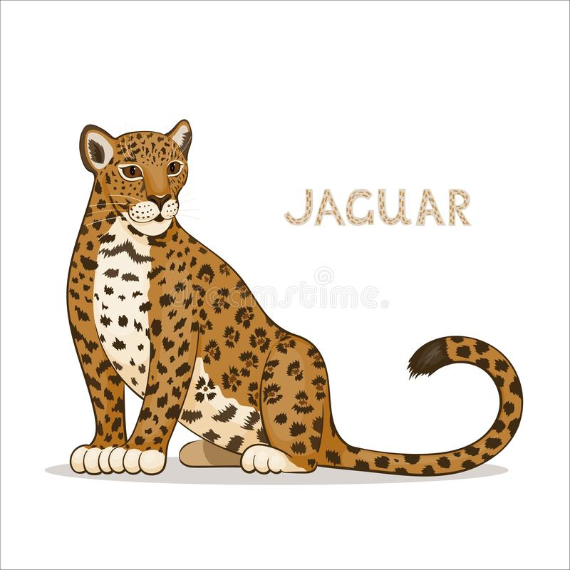 Kreskówka jaguar, odizolowywający na białym tle abecad?a zwierz?cy t?a wizerunk?w wektoru biel royalty ilustracja