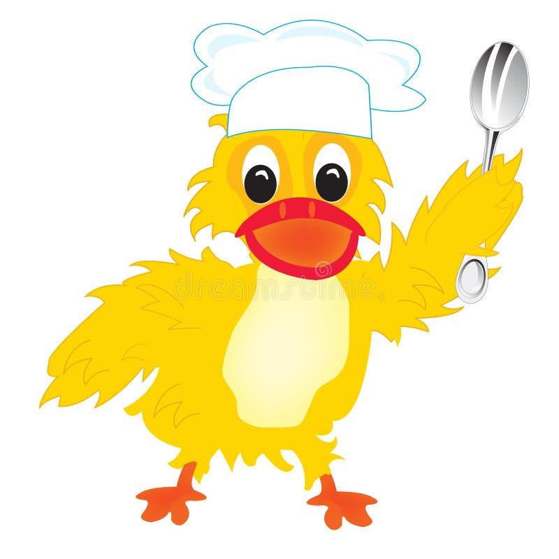 Kreskówka kaczka kucharz royalty ilustracja