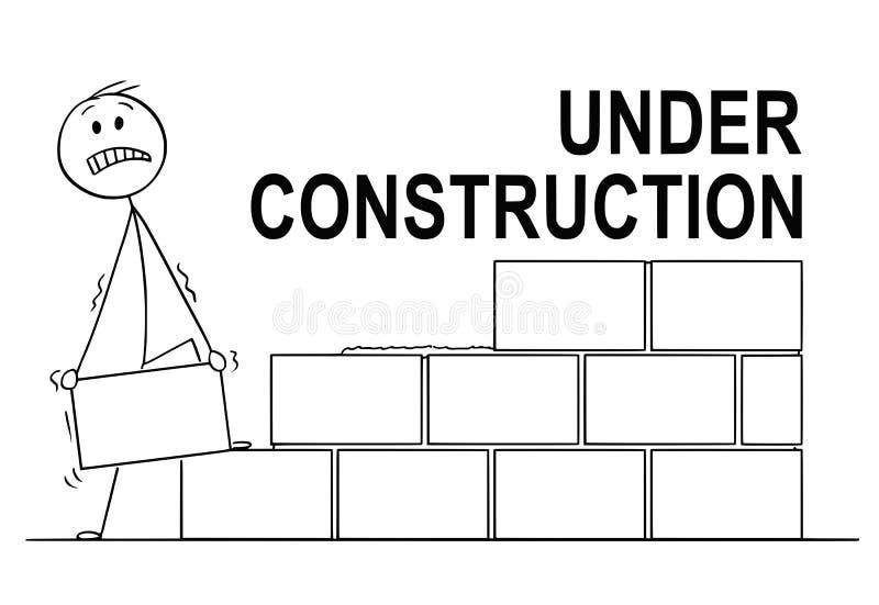 Kreskówka kamieniarz lub murarz Buduje ścianę od cegieł lub bloków W Budowie tekst Nad ilustracji