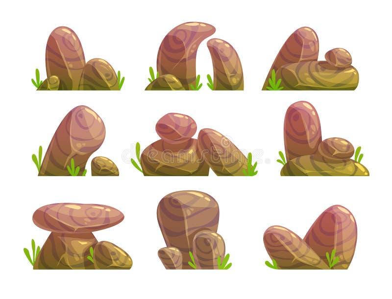 Kreskówka kamienie ustawiający ilustracja wektor