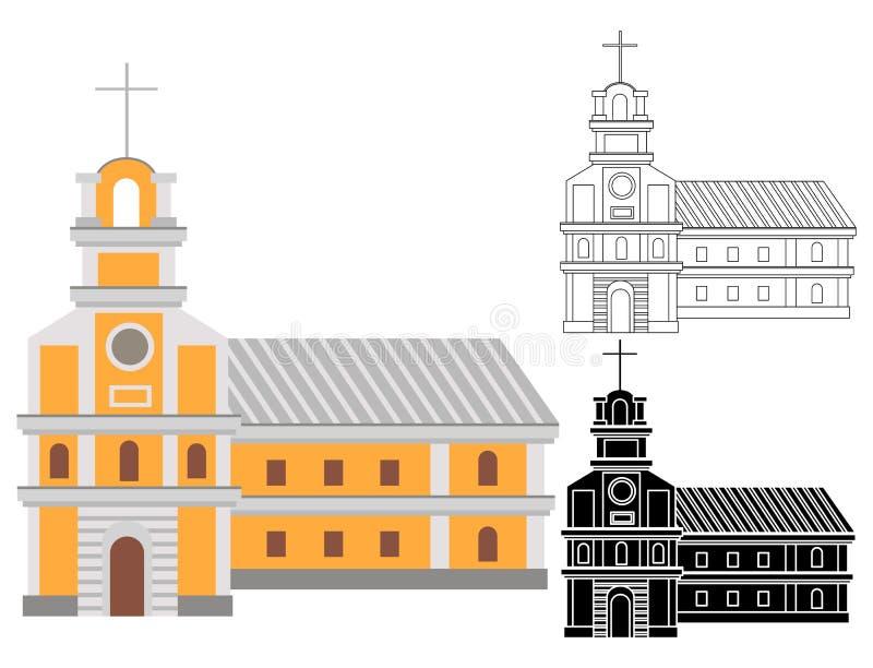 Kreskówka katolicki religijny budynek z krzyżem na wierzchołku ilustracja wektor